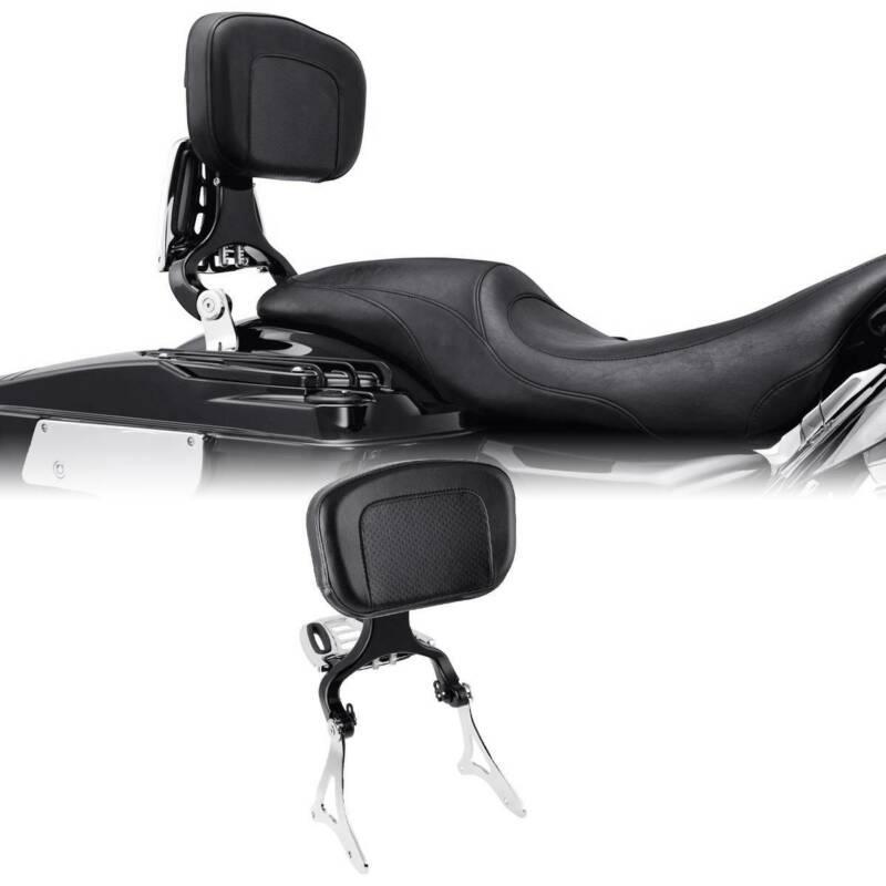 Motorcycle Driver Passenger Backrest W/ Mount Kit For Harley Touring 14-19 Black