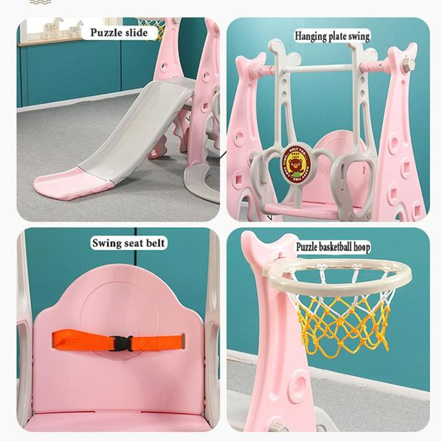 Baby Swing Chair 3 in 1 Slide Combination Shoot Basketball Kids Mini Playground Indoor Multi-Functional Slide Set free shipping