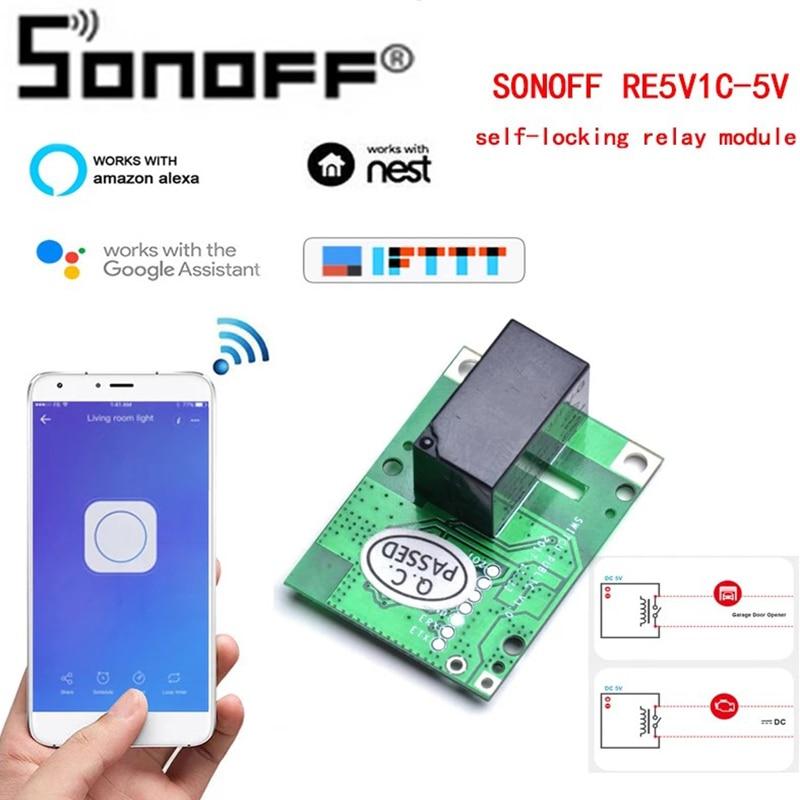 Релейный модуль SONOFF RE5V1C, Wi-Fi переключатель 5 В постоянного тока, беспроводные переключатели, режимы работы под управлением приложением/голо...