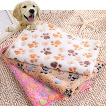 Lovely Dog Cat Paw Pattern Soft Warm Pet Cushion Bed Pad Mat Carpet Blanket for pet to play, rest and sleep image