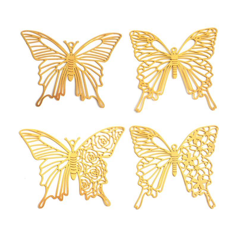 4Pc Butterfly Blank Frame Open Bezel Filling UV Resin Mold Filler Jewelry Making N58F