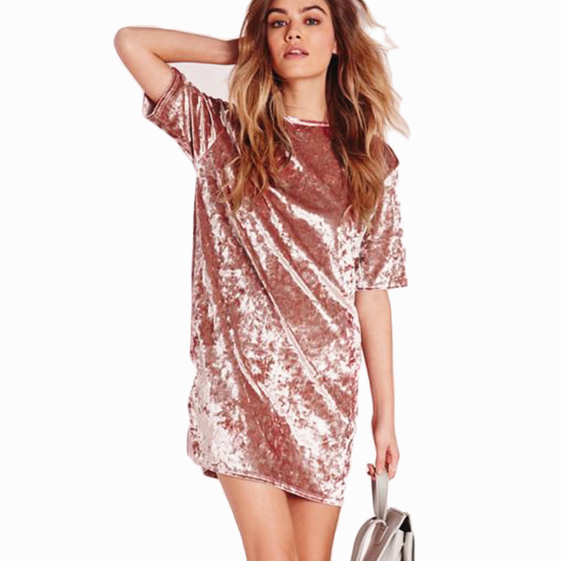 Crushed Velvet Casual <font><b>Dress</b></font> 2019 New Woman Spring Summer Pink Round Neck <font><b>Dress</b></font> Short Sleeve Shift Short <font><b>Dress</b></font> image