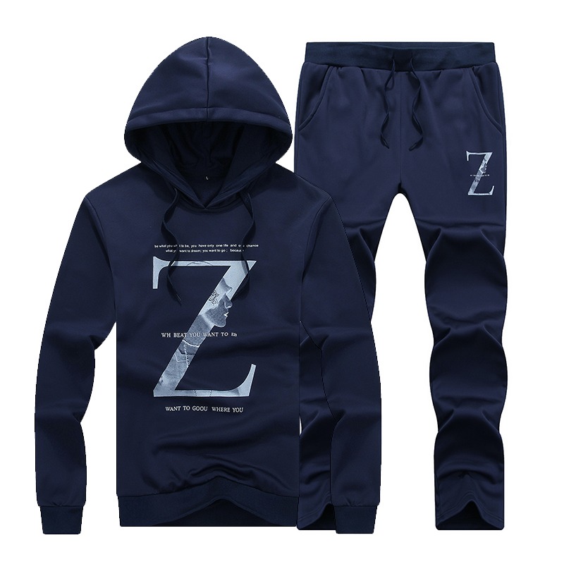 Myazhou Autumn Pullover Sportssets , Lovers Fashion Comfortable Brands Large Size Men's Letters Printed Hooded Sportssuits Men