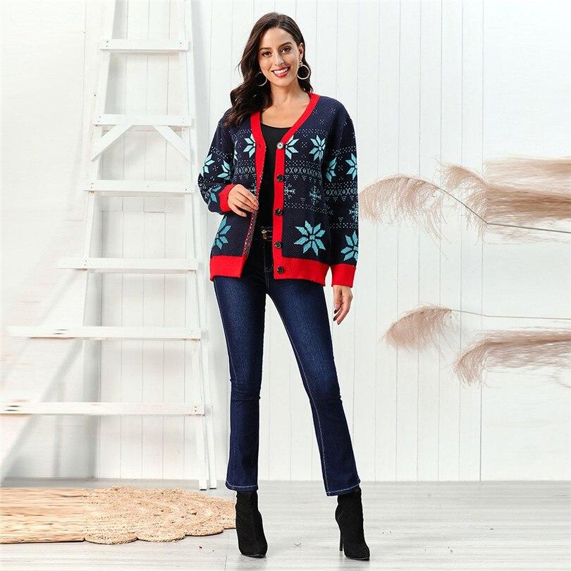 V-Neck Christmas Sweater Long Sleeve Cardigan Women Short Snowflake Print Kimono Cardigan Casual Pull Femme Nouveaute 40OCT213