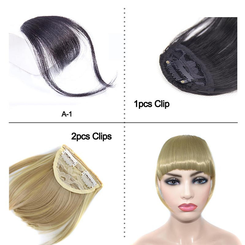 Fringe Bangs Synthetic Hair Topper Extension Clip In Crown Hairpiece with Temples for Women short Black & Brown