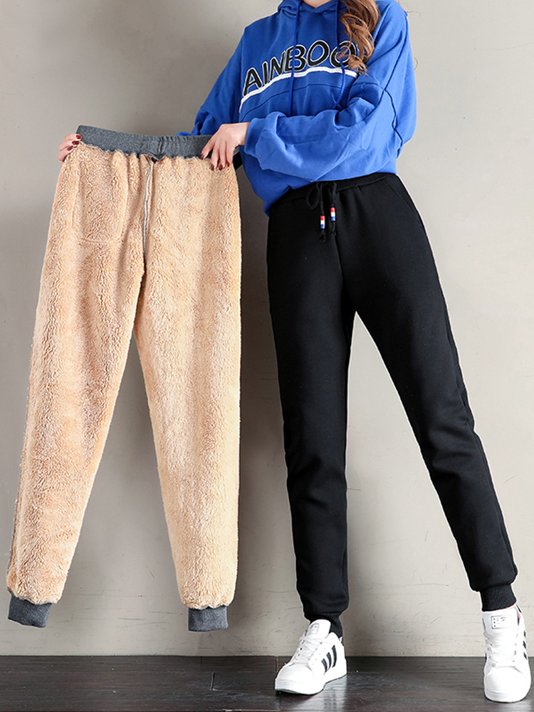 Cotton Pants Long-Trousers Lambskin Loose Warm Thick Plus-Size Women Winter Casual 3xl 4xl