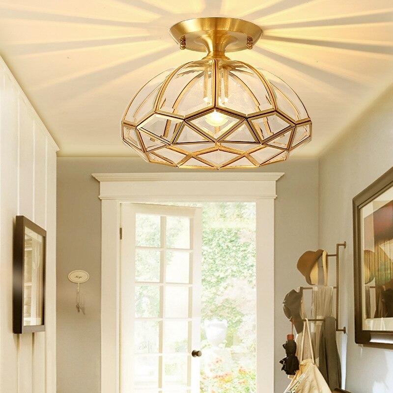 American-Style Living Room Small Droplight European Style Bedroom Lamp Copper Entrance Hallway Corridor Lights Modern Minimalist