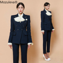 Mozuleva Winter Woolen Pant Suit Women Double-breasted Slim Blazer & Pencil Pant