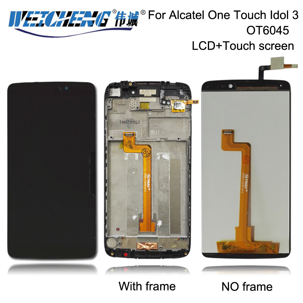 LCD <font><b>Display</b></font> And Touch Screen Digitizer Assembly With Frame For <font><b>Alcatel</b></font> One Touch Idol 3 6045 OT6045 6045B 6045I 6045K <font><b>6045Y</b></font> image