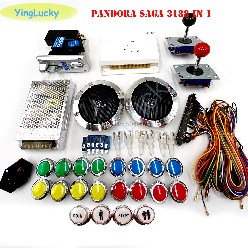 DIY Arcade Cabinet Packages Pandora 12 Game Board 3188 In 1 With LED Buttons Jamma Cable 24V Power Switch Arcade Game