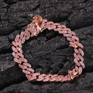 Image 2 - UWIN Rose Gold Color Cuban Link Bracelet 9mm Iced Out Pink Cubic Zirconia Men Women Bracelets Fashion Hiphop Jewelry