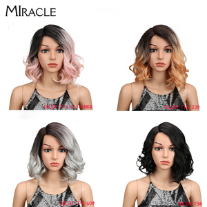 Miracle Medium Water Wave Synthetic Wigs For Black Women Lace Front Wigs For Womens Heat Resistant Female Wig Ggray White Wig