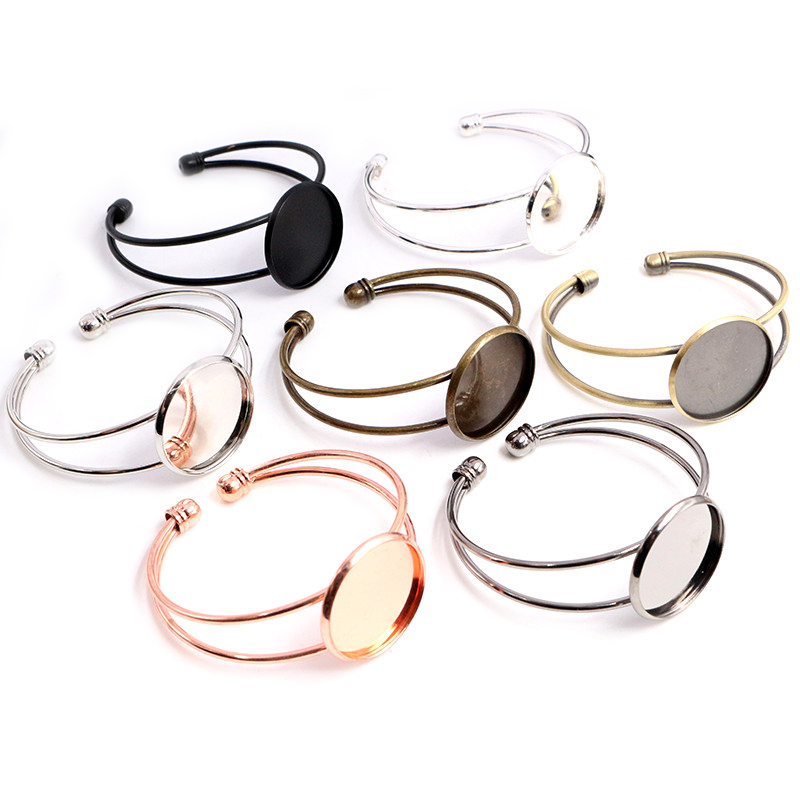High Quality 25mm Bronze Black Silver Plated 7 Colors Bangle Base Bracelet Blank Findings Tray Bezel Setting Cabochon Cameo