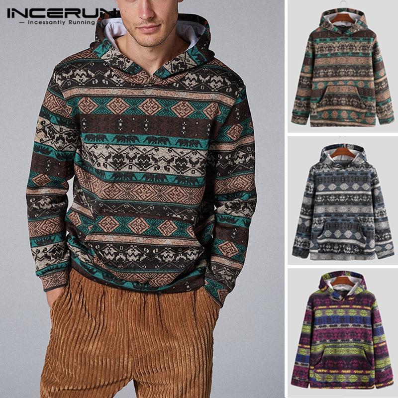 INCERUN Autumn Winter Men Hoodies Ethnic Printed Hooded Pockets Streetwear Pullovers 2020 Vintage Long Sleeve Knitted Sweatshirt
