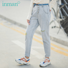 INMAN 2020 Spring New Arrival Literary Hyuna Style Contrast Color Ripped Slimmed Wash Jeans