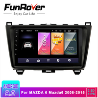 Funrover 2.5D+IPS Car Radio Multimedia player 9'' Android 9.0 2 din DVD For MAZDA 6 Mazda6 2008 2015 GPS Navigation stereo audio