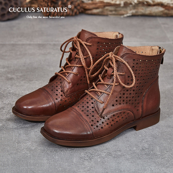 Cuculus Vintage Style Genuine Leather Women Boots Flat Booties Soft Cowhide Women's Shoes Front Zip Ankle Boots zapatos mujer