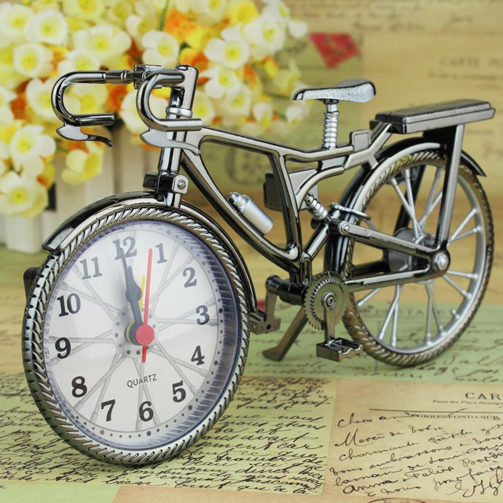 Home Decor Retro Bicycle Alarm Clock Arabic Numeral Bicycle Alarm Clock