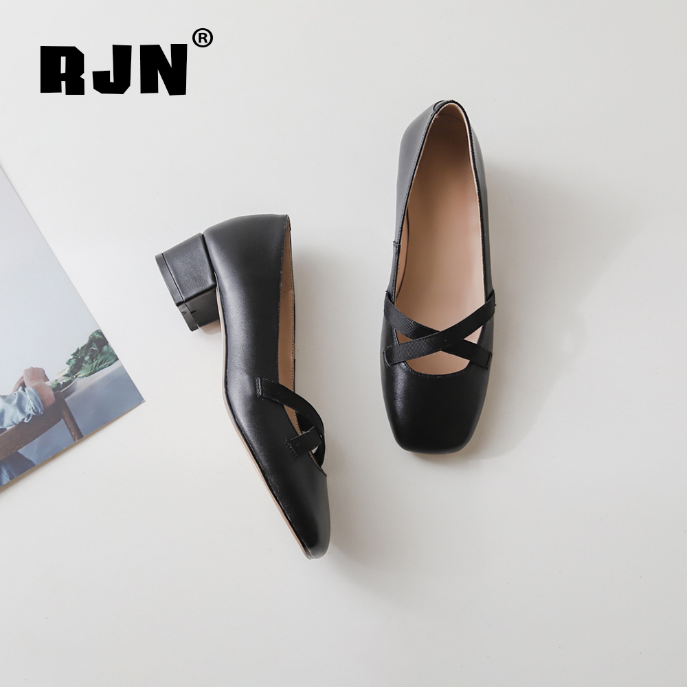New RJN Stylish Women Pumps Cow Leather Buckle Decoration Comfortable Square Toe Med Heel Elegant Slip-On Shallow Well Shoes RO35