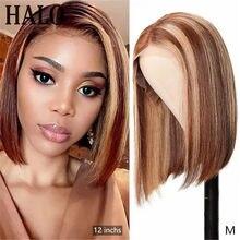 Perruque Lace Front wig Remy brésilienne naturelle, cheveux courts, coupe au carré, couleur ombré 4/27, 13x4, Ratio moyen, pre-plucked, densité 150