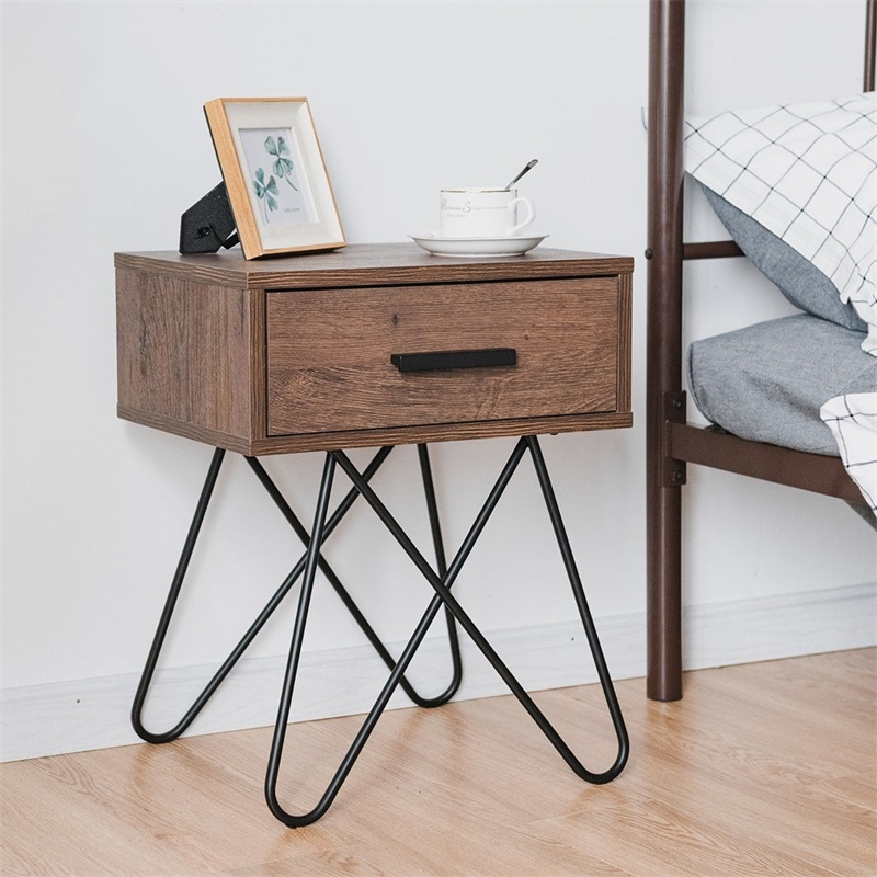 Nightstand Coffee Table Storage Display With Steel Legs And 1 Drawer Bedroom Furniture HW59328
