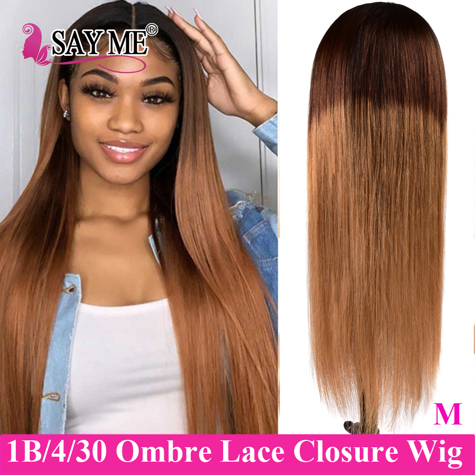 4x4 Lace Closure Wigs Honey Blonde Brown Ombre Straight Human Hair Wigs 150% Long Remy Brazilian Hair Wigs For Women