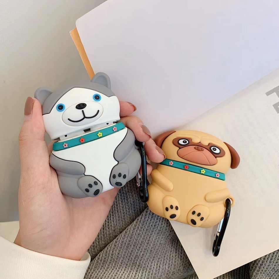 3D Lucu Landak Earphone Case untuk Airpods 2 Kasus Silikon Kartun Lucu Penutup untuk Apple AirPods 1 Kasus Kunci Ring aksesoris Tas