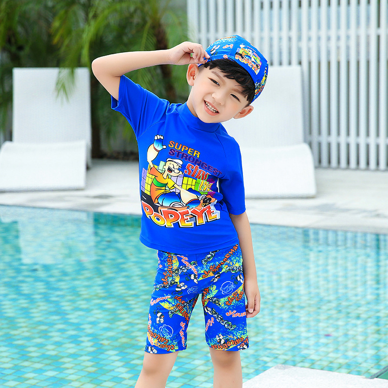 New Style Children Boy Cartoon POPEYE Split Type Hooded Half Sleeve 2-12-Year-Old Large Size Segment Conservative Swimsuit