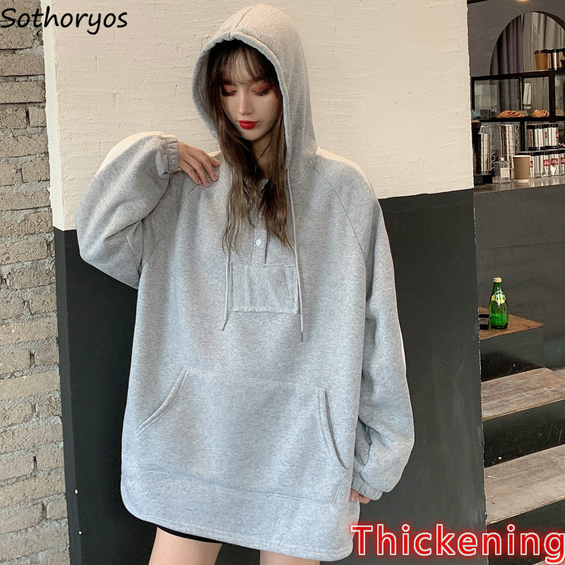 Hoodies Women Korean Oversized Hoodie Gray Winter Clothes Thickening Womens Hoodie Patchwork Novelty Sweatshirt With Hooded Warm