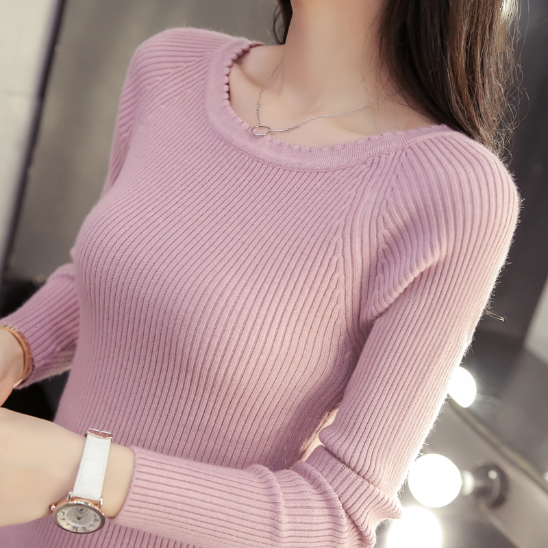 And Autumn 2019 Word Collar Sweater Paragraphs Tight Autumn Sweater Short Sleeve Top Female Head Cultivate Morality