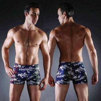цена Male Sexy Swimwear Sales Vintage Allover - Print Elastic Band with Ties Sexy Swim Trunk  Big Men Plus Size XXX  Swimsuit онлайн в 2017 году