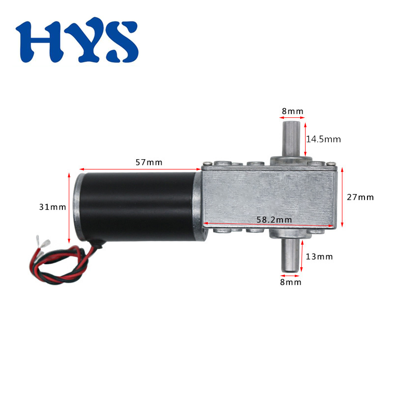 12 Volt 24 V Gear Motor Double Shaft Length 14mm DC 12V 24V Electric Speed Reducer Torque 70kg.cm Motors Controller 5840-31ZY