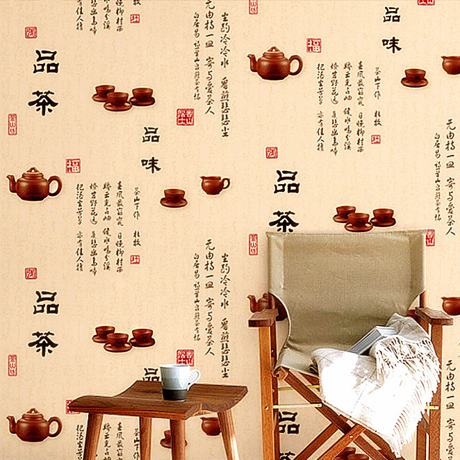 Classical Chinese Style Wallpaper Retro Nostalgic Taste Tea Pot Wallpaper Tea Living Room Restaurant Tea House Wallpaper Tea Sho
