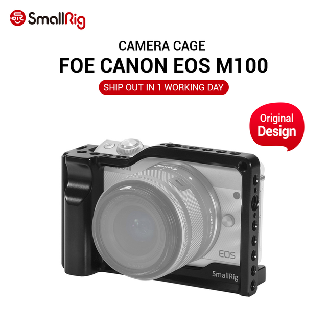 SmallRig M100 Camera Cage for Canon EOS M100 Camera Feature with 1/4 3/8 Thread Holes for Magic Arm Microphone DIY Options 2382
