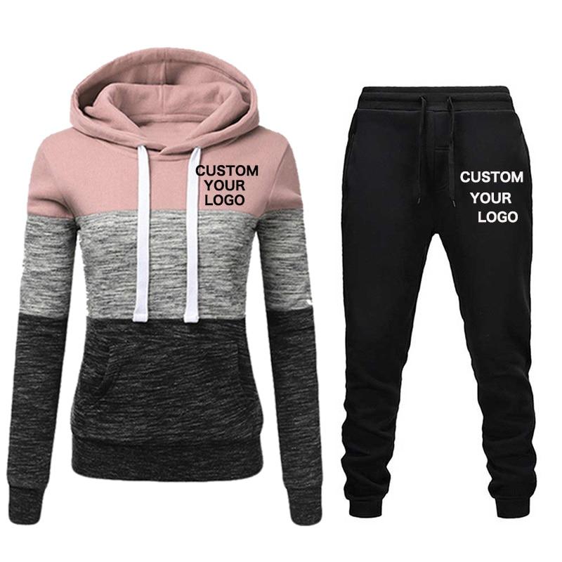 2020 New Brand Tracksuit Women Pant 2 Piece Sets Woman Sportswear Fleece Thick Hoody+Pants Sport Suits Custom Logo