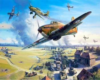 Paint By Numbers Adult Kit WW2 Battlefield Dogfight RAF Hurricane War Airplane