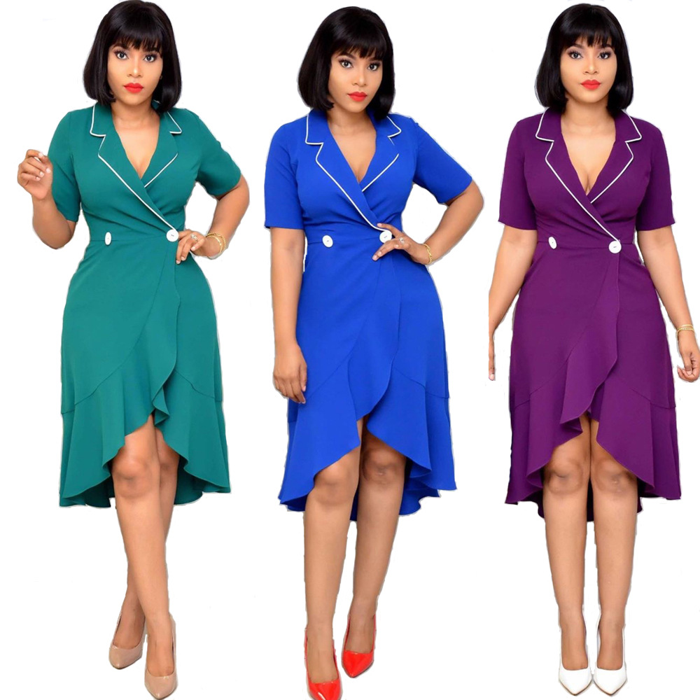 2019 New Arrival Sexy Fashion Style African Women Plus Size V-neck Knee-length Dress M-XXL