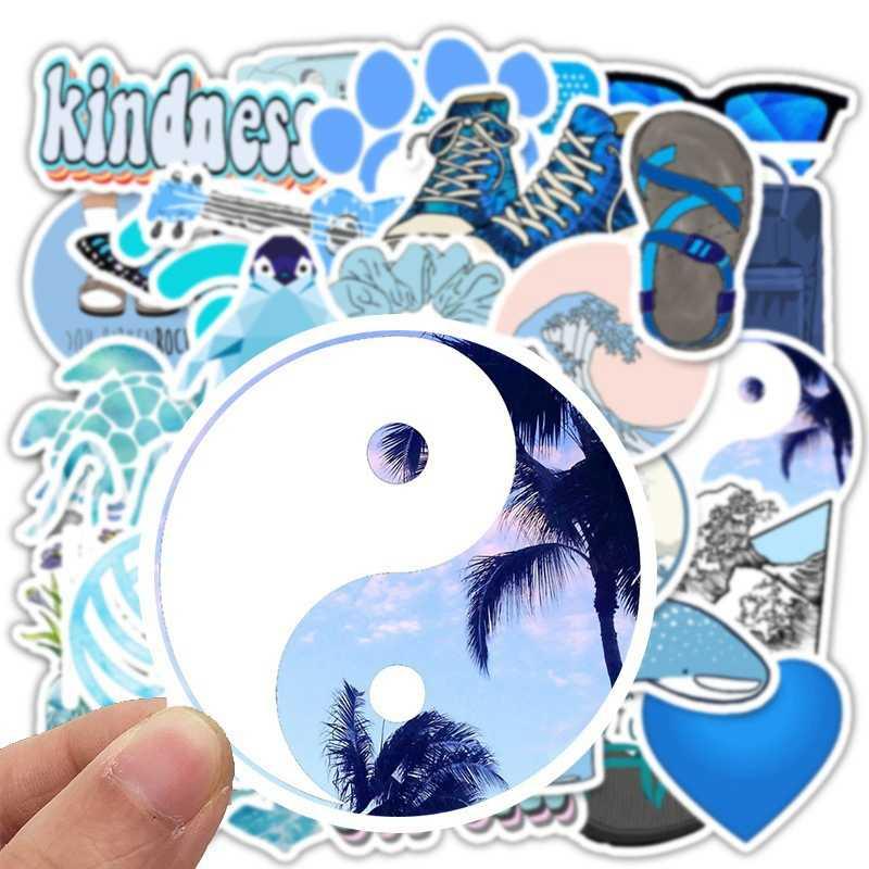 Stiker Laptop Keren Perjalanan Kotak Biru VSCO Sticker Pack Hewan 50 Anak-anak Mainan Hadiah Liburan Gadis Tren Sepeda Motor Balap Stiker