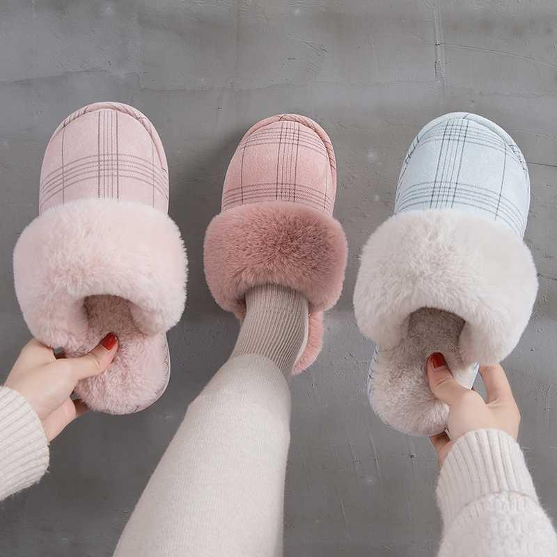 2019 Nieuwe Unisex Winter Herfst Warm Slippers Vrouwen Mannen Gestreepte Zachte Pluche Indoor Huis Slippers Pluizige Bont Platte Non- slip Slippers