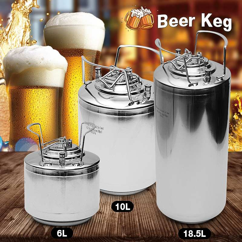 10L/20L Stainless Steel Beer Keg Pressurized Growler for Craft Beer Dispenser System Home Wine Beer Brewing image