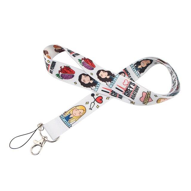 20pcs/lot BH1007 Cartoon Cat Lanyard For keys Hang Ropes Phone Badge Grey's Anatomy Neck Straps Horror Movie Clown Necklaces 3