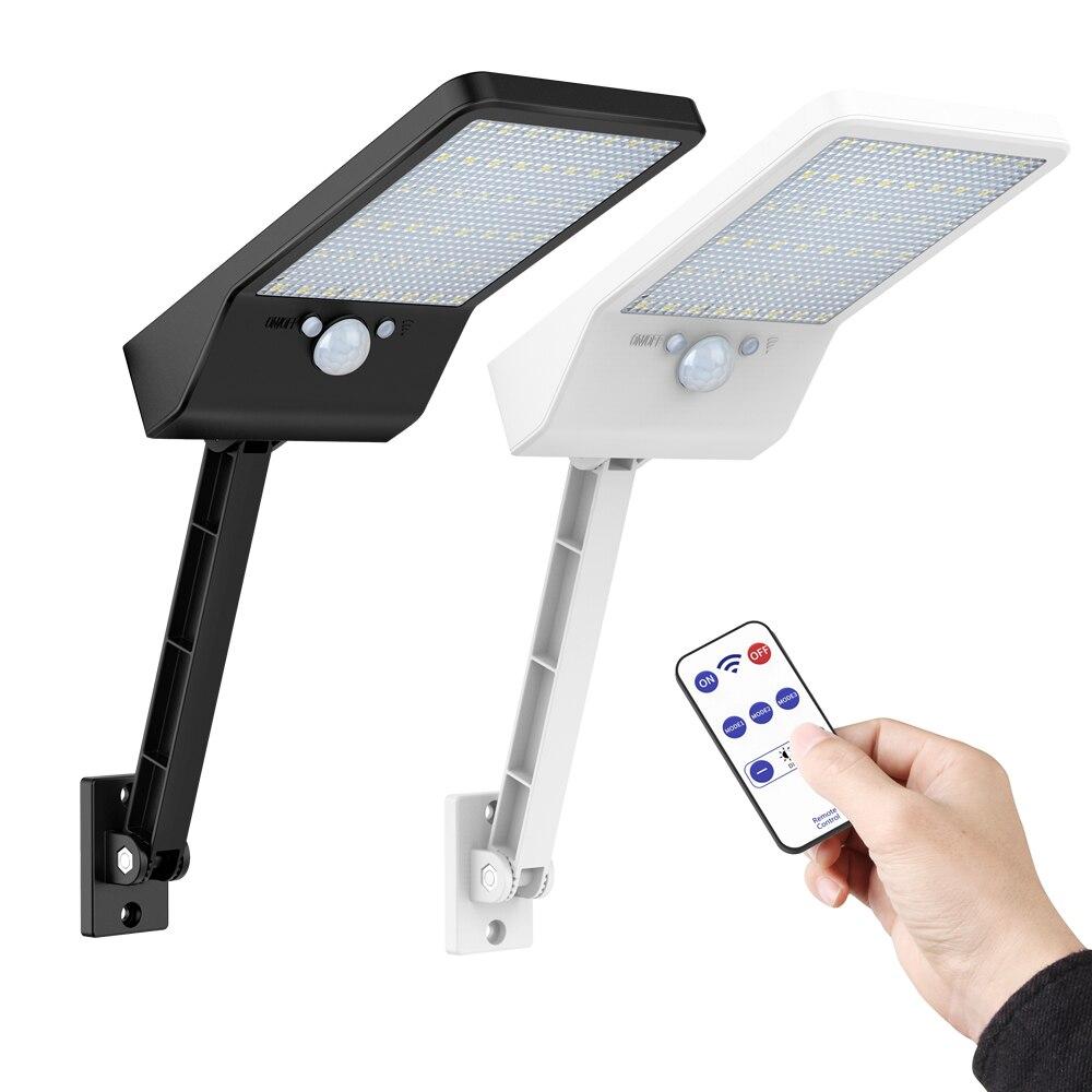 New 48 LED-solar-street-path-flood-light Outdoor Garden-yard-Power-Wall-Lamp Remote Control Rotate Bracket PIR Motion Sensor