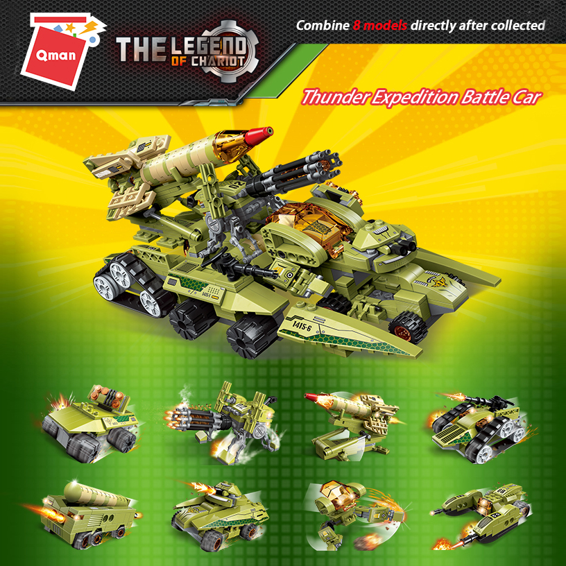 Qman 1415 Thunder Expedition Battle Armed Tank Buggies Car Space Bricks Friends Building Blocks Toys For Kids
