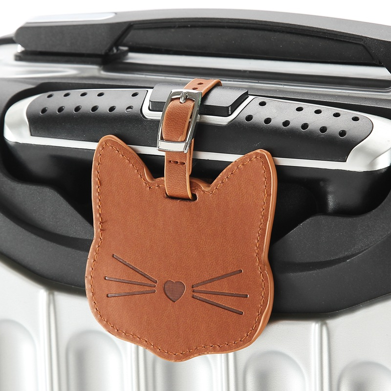 Suitcase Bag Tag Name Address ID Label Women Cute PU Cat Head Luggage Tag Travel Accessories