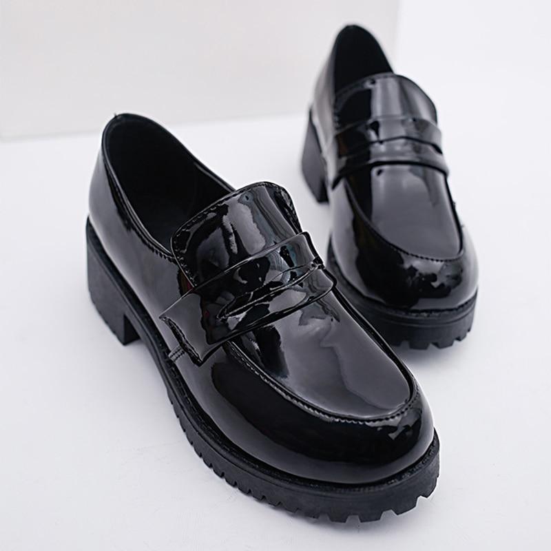 Cute Lolita Girl Women Maid Boots Shoes Round Toe Leather Shoes Japanese JK High School Uniform Kawaii Anime Cosplay