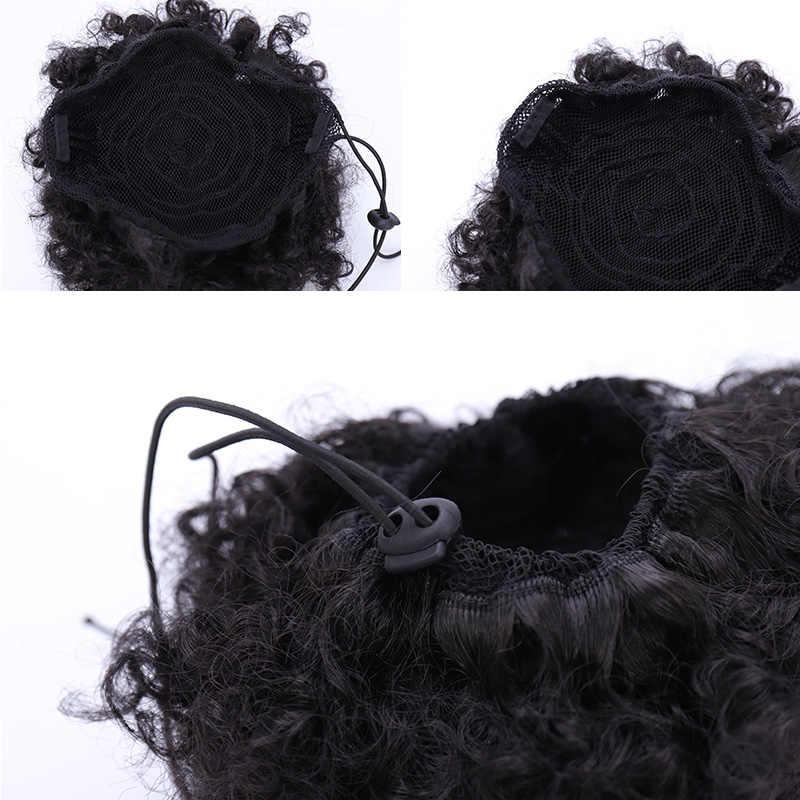 DIFEI Afro Cola de Caballo cordón sintético Chignon pelo Afro Buns Afro rizado Chignon fibra Afro falso extensiones de cabello