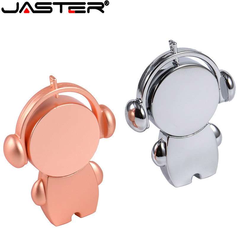 JASTER New Hot Metal Music Small Doll USB 2.0 4GB 8GB 16GB 32GB 64GB Pen Drive USB 2.0 Memory Stick Metal Flash Drive