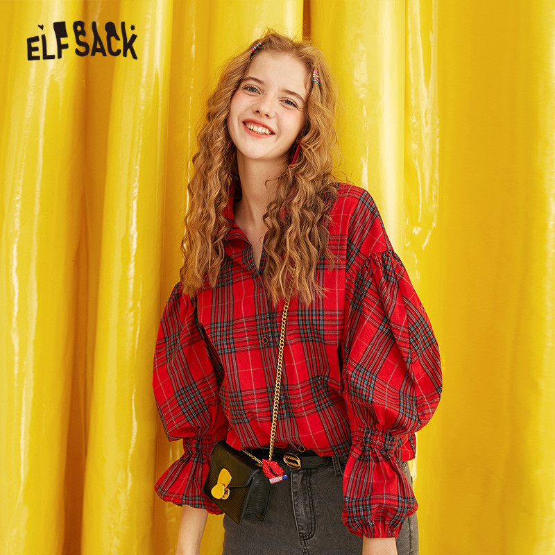 ELFSACK Red Plaid Brit Graphics Blouse Shirt Women 2019 Autumn Single Breasted Drop Shoulder Puff Sleeve Office Ladies Tops