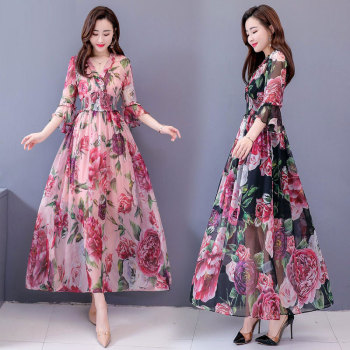 New Fashion Summer Dress Women Chiffon Long V-neck Flare Sleeve Floral Print Elegant Ladies Dresses Clothing