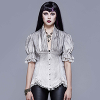 Eva Lady Women's Goth V neck Single breasted Lace Puff Sleeved Shirt ESHT004